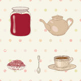 Jam and tea set Royalty Free Stock Photography