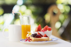 Jam toast juice fruit and coffee set Royalty Free Stock Photography