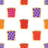 Jam on toasts, toast with jelly seamless pattern. Flat style Royalty Free Stock Photos