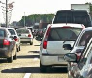 Jam-traffic. Suburban traffic jam, close up stock photo