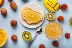 Jam of tropical fruits Stock Photos