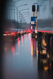 Jam under the rain. Traffic jam in the rain stock photos