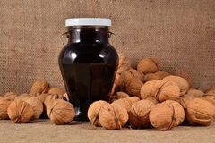 Jam from walnuts Stock Images