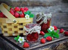 Jam from wild strawberries Stock Photo