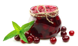 Jam With Cherry And Mint Royalty Free Stock Images