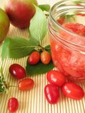Jam With Fruits Of Cornel And Apples Royalty Free Stock Images