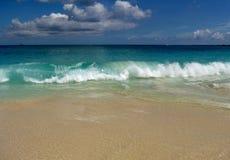 Jamaïca-gekrulde strandgolven stock foto's