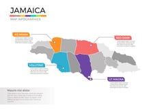 Jamaïca-het vectormalplaatje van kaartinfographics met gebieden en wijzertekens vector illustratie