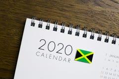 Jamaïca-Vlag op de Kalender van 2020 stock fotografie