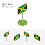 Jamaïca-vlag, vectorreeks 3D isometrische pictogrammen Stock Afbeeldingen