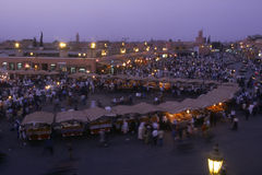 The Jama el Fna square in Marrakech. The Jama el Fna square by nigth and the Kutubia mosk. Morocco stock photos