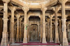 Jama Masijd mosque in complex Sarkhej Roza in India. Mosque and tomb complex Sarkhej Roza is a located in the village of Makaraba, near Ahmedabad in Gujarat Stock Photography