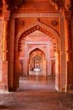 Jama Masjid内部在法泰赫普尔西克里,北方邦,印度 免版税库存图片