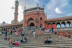 Jama Masjid,德里,印度主闸  库存图片