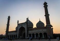 Jama Masjid après le soleil vers le bas, Delhi, Inde Photo stock