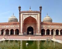 Jama Masjid - Closeupsikt av den största moskén i Indien Fotografering för Bildbyråer