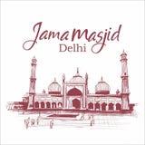 Jama-masjid delhi Indien skissar illustrationarkitektur vektor illustrationer