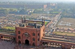 Jama Masjid en Rood Fort in Delhi Royalty-vrije Stock Afbeelding