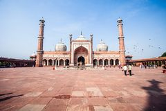 Jama Masjid Mosque, altes Delhi, Indien. lizenzfreie stockfotografie