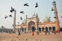 The Jama Masjid in Old Delhi, India. stock images