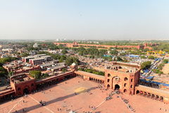 Jama Masjid and Red Fort, Delhi. Jama Masjid is in new Delhi and it was built by Mughal Emperor Shah Jahan in 1656, Delhi. This mosque is principal mosquen of Stock Photos