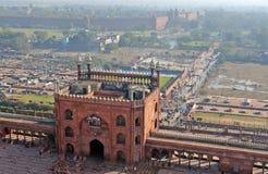 Jama Masjid y fortaleza roja en Delhi Imagen de archivo libre de regalías