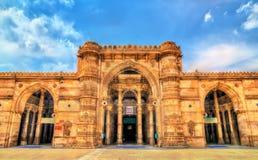 Jama Mosque den mest storartade moskén av Ahmedabad - Gujarat, Indien arkivbilder