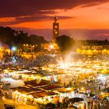Jamaa EL Fna, Μαρακές, Μαρόκο Στοκ φωτογραφία με δικαίωμα ελεύθερης χρήσης