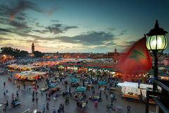 Jamaa el Fna (also Jemaa el-Fnaa, Djema el-Fna or Djemaa el-Fnaa. ) is a square and market place in Marrakesh's medina quarter (old city) with Koutubia in royalty free stock photos
