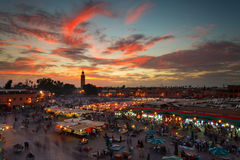 Jamaa el Fna (also Jemaa el-Fnaa, Djema el-Fna or Djemaa el-Fnaa. ) is a square and market place in Marrakesh's medina quarter (old city) with Koutubia in stock photos