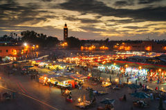 Jamaa el Fna (also Jemaa el-Fnaa, Djema el-Fna or Djemaa el-Fnaa. ) is a square and market place in Marrakesh's medina quarter (old city) with Koutubia in stock images