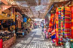 Jamaa el Fna market. Souvenirs on the Jamaa el Fna market in old Medina, Marrakesh, Morocco royalty free stock photo
