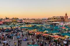 Jamaa el Fna market square. Marrakech, Morocco - December 8, 2018: Jamaa el Fna market square. Jemaa el-Fnaa, Djema el-Fna or Djemaa el-Fnaa is a famous square stock image