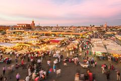 Jamaa el Fna market square in sunset, Marrakesh, Morocco, north Africa. Stock Image