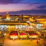 Jamaa el Fna, Marrakesh, Marocko Arkivfoto