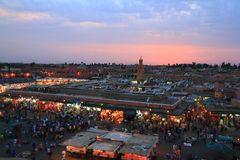 Jamaa el Fna. In medina quarter of Marrakesh royalty free stock photo