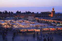 Jamaa el Fna. In medina quarter of Marrakesh royalty free stock photography