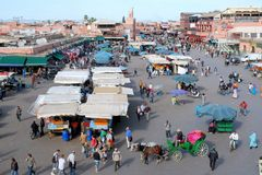 Marrakesh or Marrakech - Jamaa el Fna a square - Morocco. Jamaa el Fna or Djema el-Fna is a square and market place in Marrakeshs medina quarter - old city at royalty free stock image
