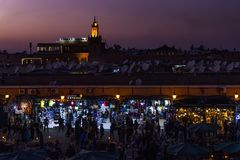 Jamaa el Fna at sunset in Marrakech, Morocco Stock Photos