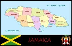 Jamaica Administrative divisions. Jamaica map flag and coat Stock Photo