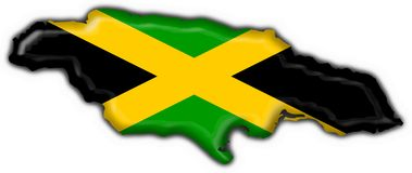 Jamaica button flag map shape Royalty Free Stock Images