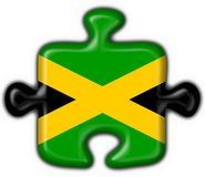 Jamaica button flag puzzle shape Stock Photo