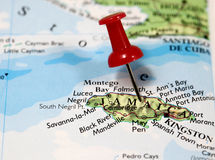 Jamaica in Caribbean. Map with pin point of Jamaica in Caribbean stock photography