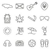 Jamaica Country & Culture Icons Thin Line Vector Illustration Set Royalty Free Stock Photography