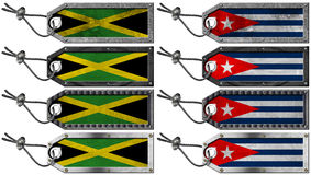 Jamaica and Cuba Flags Set of Grunge Metal Tags Royalty Free Stock Image