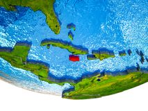 Jamaica on 3D Earth. With divided countries and watery oceans. 3D illustration stock photo