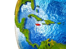 Jamaica on 3D Earth. Jamaica highlighted on 3D Earth with visible countries and watery oceans. 3D illustration royalty free stock photography