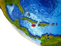 Jamaica on 3D Earth. Jamaica on model of Earth with country borders and blue oceans with waves. 3D illustration royalty free illustration