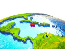 Jamaica on 3D Earth. With visible countries and blue oceans with waves. 3D illustration vector illustration