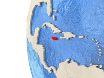 Jamaica on 3D globe. Map of Jamaica on globe with watery blue oceans and landmass with visible country borders. 3D illustration Royalty Free Stock Images